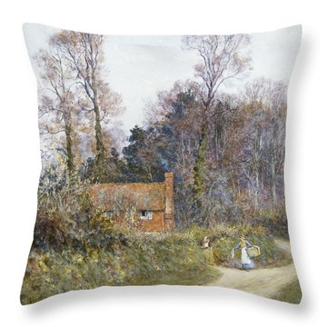 In A Witley Lane Throw Pillow by Helen Allingham