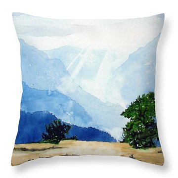 Throw Pillow featuring the painting In All Thing's God's Glory by Tom Riggs
