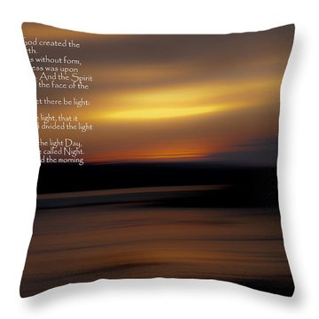 In The Beginning Throw Pillow by Greg DeBeck
