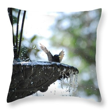Throw Pillow featuring the photograph In The Cool Of The Morning #3 by Linda Cox