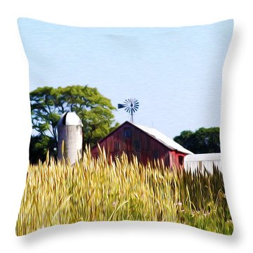In The Farmers Field Throw Pillow by Bill Cannon