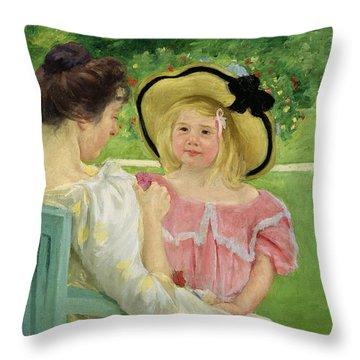 In The Garden Throw Pillow by Mary Stevenson Cassatt
