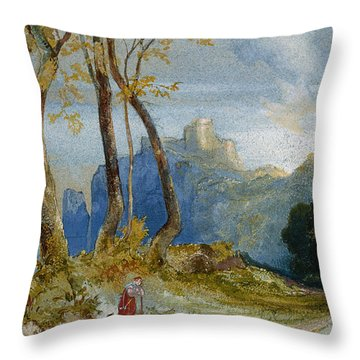 In The Hills Throw Pillow by Thomas Moran