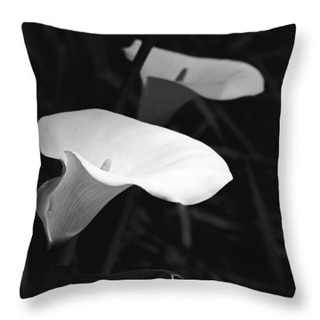 In The Light Calla Lily Flowers Black And White Throw Pillow by Jennie Marie Schell