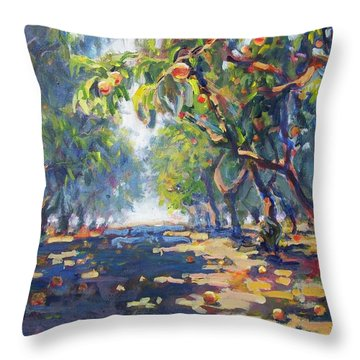 In The Peach Orchard Throw Pillow by Margaret  Plumb
