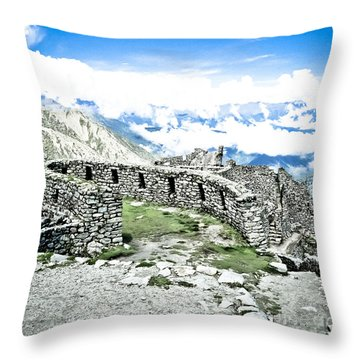 Inca Observatory Ruins Throw Pillow by Darcy Michaelchuk