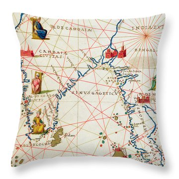 India And Malaysia Throw Pillow by Battista Agnese