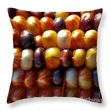 Throw Pillow featuring the photograph Indian Corn by Barbara McMahon