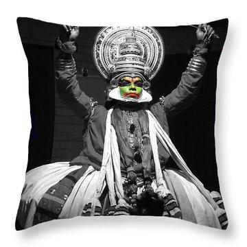 Indian Kathakali Dance Of Kerela 2 Throw Pillow by Sumit Mehndiratta