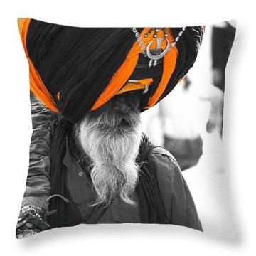 Indian Man Wearing Turban Throw Pillow