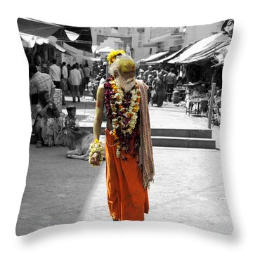 Indian Sadhu At A Religious Spot In India Throw Pillow by Sumit Mehndiratta