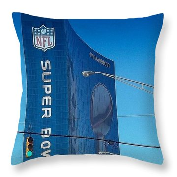 Indianapolis Marriott Welcomes Super Bowl 46 Throw Pillow