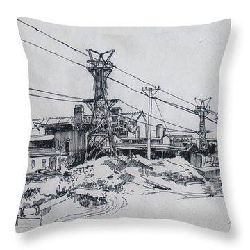 Industrial Site Throw Pillow by Ylli Haruni