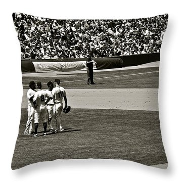 Throw Pillow featuring the photograph Infield Meeting by Eric Tressler