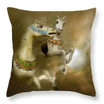 Infinity Horses And  Butterflies Throw Pillow