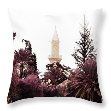 infrared Hala Sultan Tekke Throw Pillow