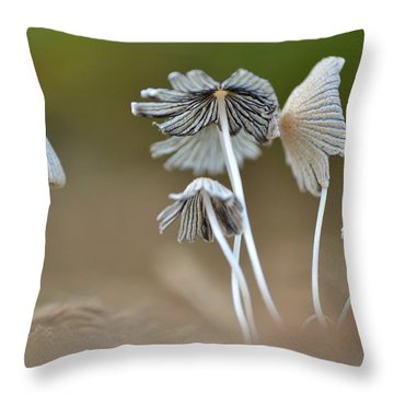Ink-cap Mushrooms Throw Pillow