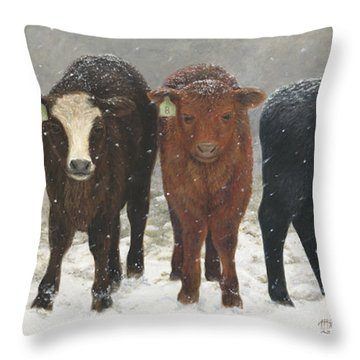 Inquisitive Calves Throw Pillow