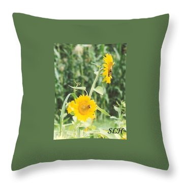 Insect On Sunflowers Throw Pillow
