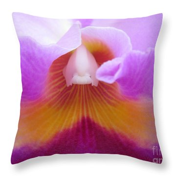 Inside An Orchid's Heart Throw Pillow by Judee Stalmack