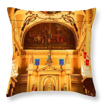 Inside St Louis Cathedral Jackson Square French Quarter New Orleans Film Grain Digital Art Throw Pillow by Shawn O'Brien