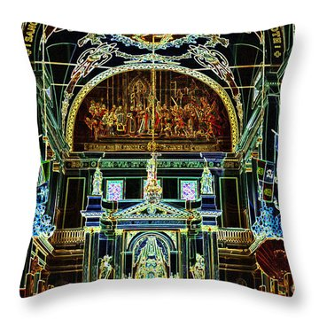 Inside St Louis Cathedral Jackson Square French Quarter New Orleans Glowing Edges Digital Art Throw Pillow by Shawn O'Brien