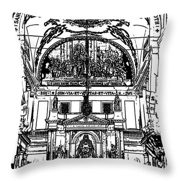 Inside St Louis Cathedral Jackson Square French Quarter New Orleans Stamp Digital Art Throw Pillow by Shawn O'Brien