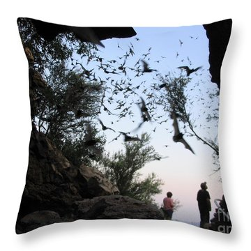 Throw Pillow featuring the photograph Inside The Bat Cave by Mark Robbins