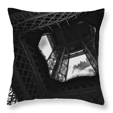 Throw Pillow featuring the photograph Inside The Eiffel Tower by Eric Tressler