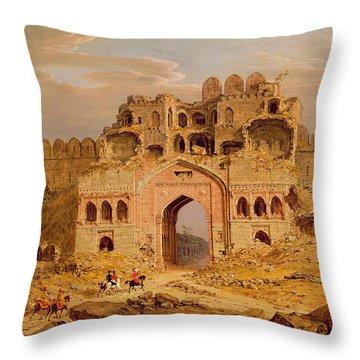 Inside The Main Entrance Of The Purana Qila - Delhi Throw Pillow by Robert Smith