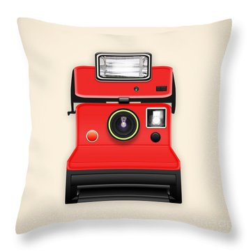 Instant Camera With A Blank Photo Throw Pillow by Setsiri Silapasuwanchai