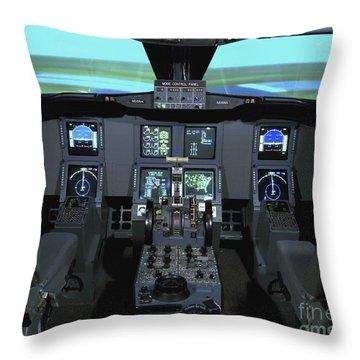 Interior View Of An Aircraft Flight Throw Pillow