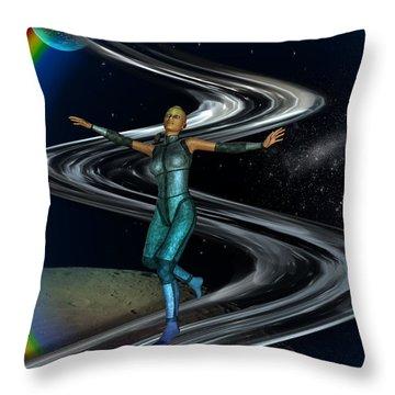 Throw Pillow featuring the digital art Interplanetary Glideway by Shadowlea Is