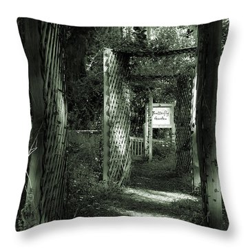 Throw Pillow featuring the photograph Into The Butterfly Garden Green by DigiArt Diaries by Vicky B Fuller