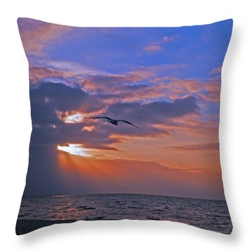 Throw Pillow featuring the photograph Into The Misty Morning Sun by Brian Wright