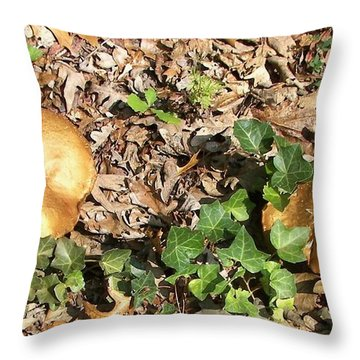 Invasive Shrooms Throw Pillow by Pamela Hyde Wilson