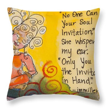 Invitation In Hand Throw Pillow by Ilisa Millermoon