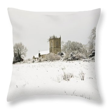 Ireland Winter Landscape With Church Throw Pillow by Peter McCabe