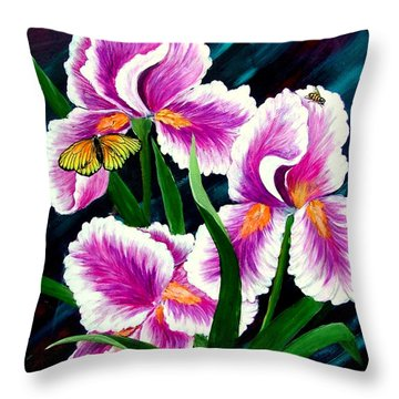 Iris And Insects Throw Pillow