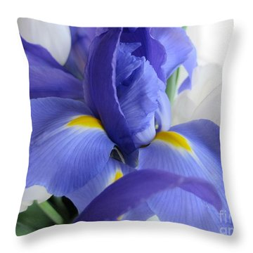 Iris Bloom Throw Pillow