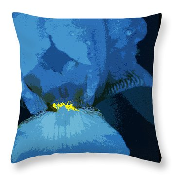 Iris Blue Throw Pillow
