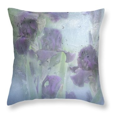 Iris In The Spring Rain Throw Pillow