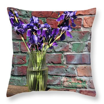 Throw Pillow featuring the photograph Iris Vase by Rick Friedle