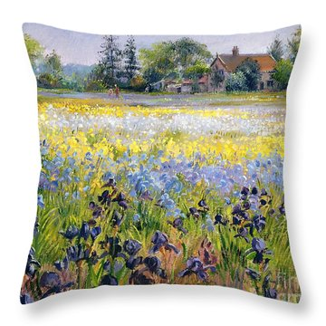 Irises And Two Fir Trees Throw Pillow by Timothy Easton