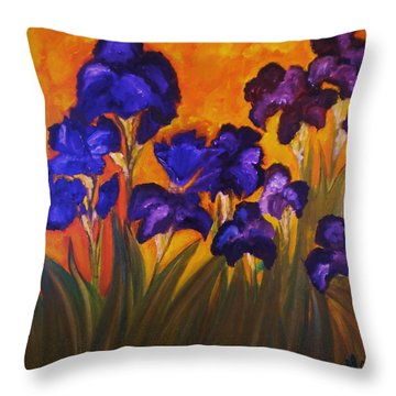 Irises In Motion Throw Pillow