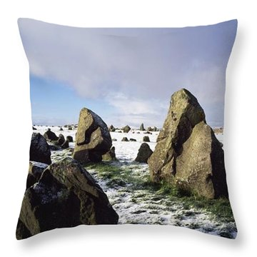 Irish Snow Scenes Co Tyrone, Beaghmore Throw Pillow by The Irish Image Collection