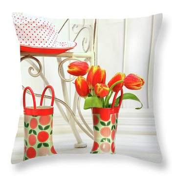 Iron Chair With Little Rain Boots And Tulips  Throw Pillow