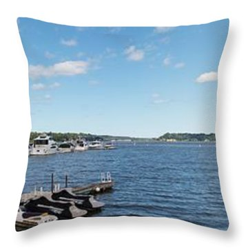 Throw Pillow featuring the photograph Irondequoit Bay Panorama by William Norton