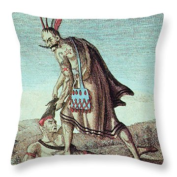 Iroquois Warrior Scalping Enemy, 1814 Throw Pillow by Photo Researchers