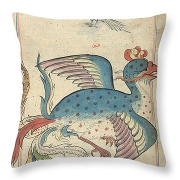 Islamic Mythical Bird, Simurgh, 17th Throw Pillow